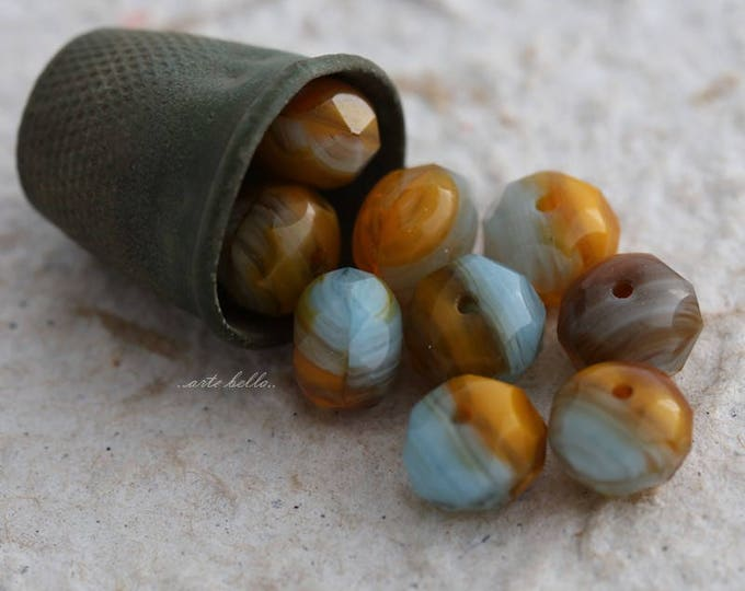 AUTUMN SKIES No. 2 .. 10 Premium Czech Glass Rondelle Beads 6x8-9mm (5754-10)