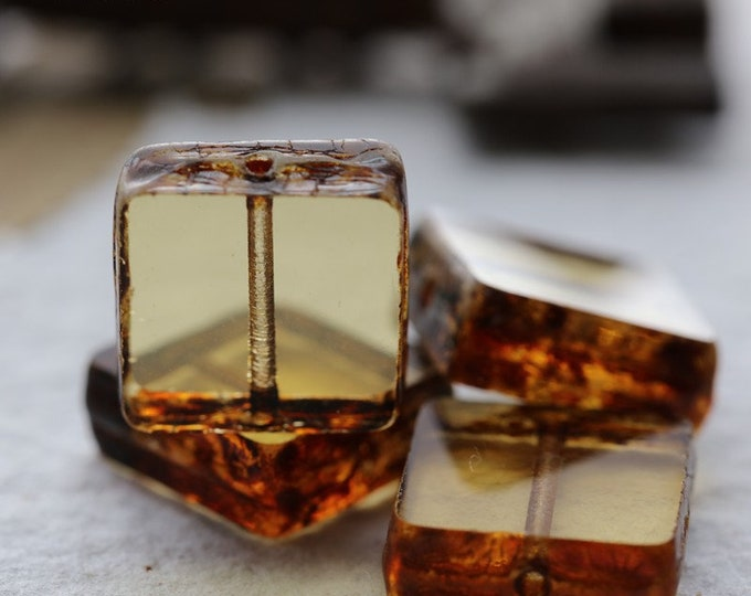 GOLDEN BROWN SQUARES .. New 4 Premium Picasso Czech Glass Tile Square Beads 13x4mm (8059-4)