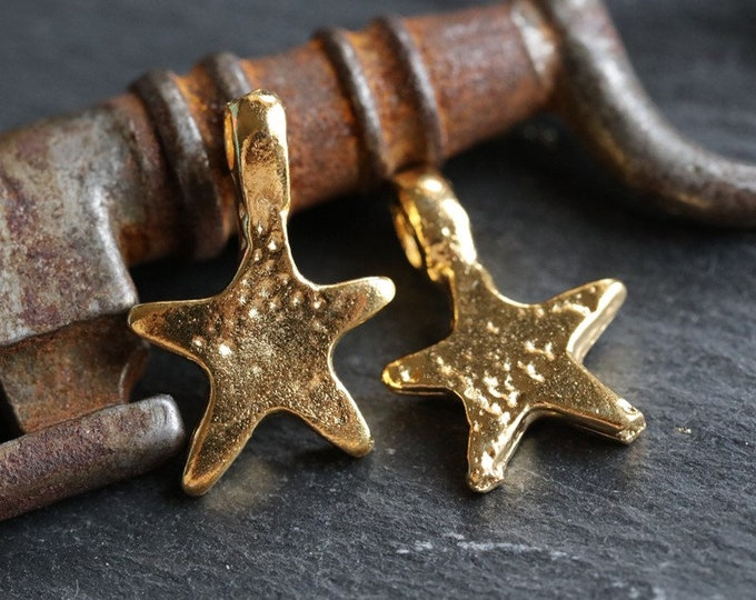 SHOOTING STARS No. 198 .. New 2 Mykonos Greek Star Pendant Charms 12x19mm (M198-2)