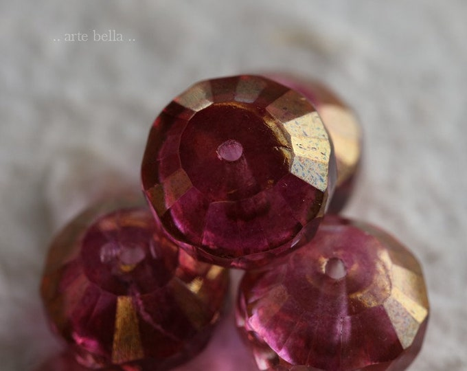 WICKED PINKS .. 4 Premium Picasso Czech Glass Rivoli Bead 14x9mm (6721-4)