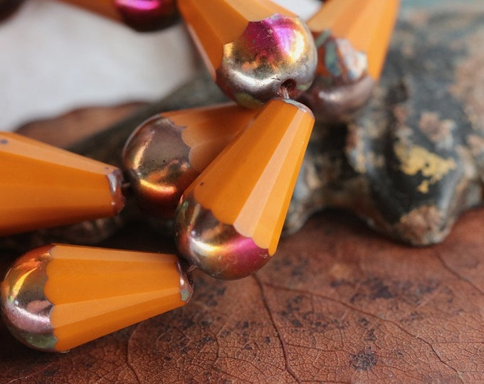 MYSTIC ROASTED CHUBETTES No. 2 ..New 8 Premium Picasso Czech Matte Glass Faceted Drop Beads 15x8mm (8611-8)