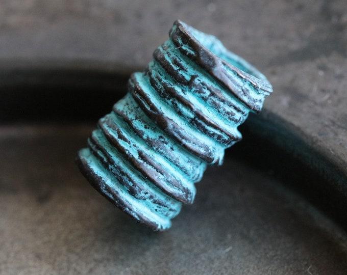 RIDGED BARREL .. New 2 Mykonos Greek Barrel Beads 16x11mm (M213-2)