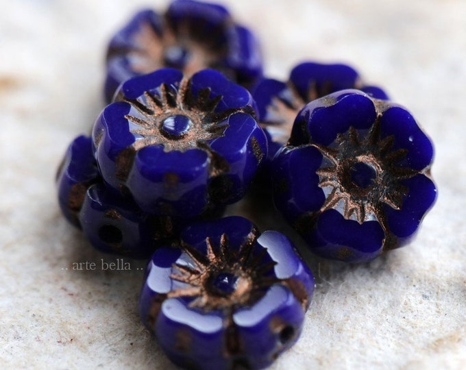 BRONZED ROYAL PANSY .. 6 Picasso Czech Glass Flower Beads 7mm (6419-6)