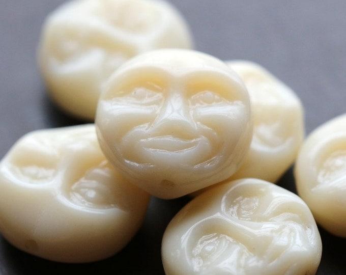 IVORY MOONS .. 6 Premium Czech Glass Moon Face Beads 13mm (8495-6)