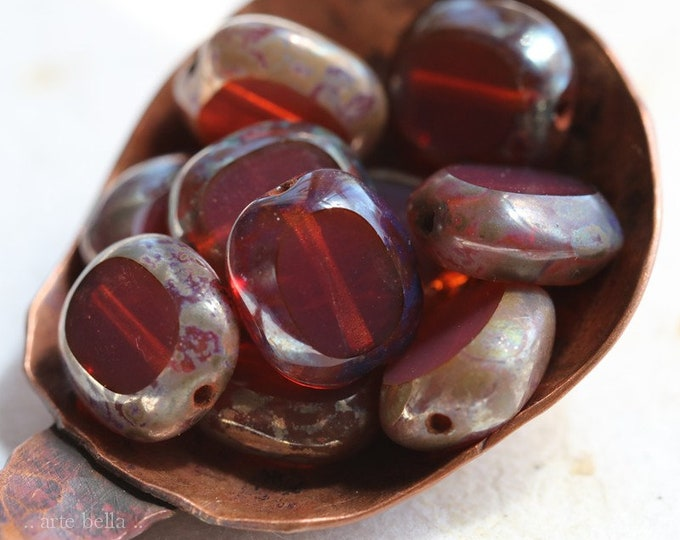 MYSTIC PINK OPAL Tablets .. New 10 Premium Picasso Czech Glass Oval Coin Beads 10x9mm (8134-10)