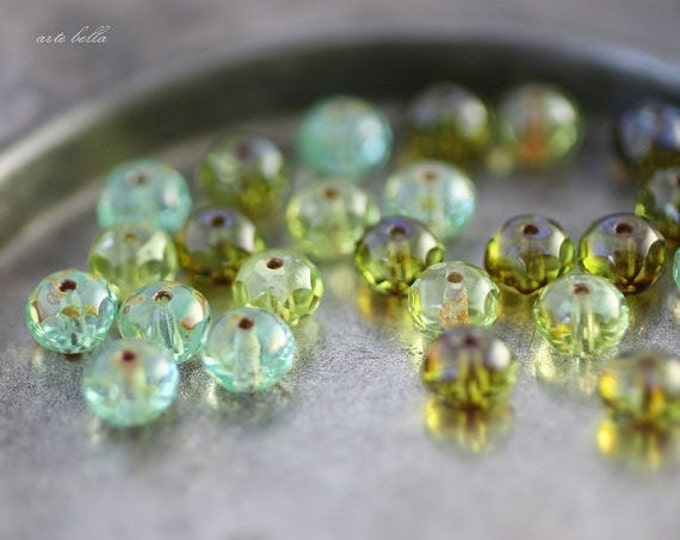 SUMMER DAY .. 10 Picasso Czech Rondelle Glass Bead Mix 7x5mm (2428-10)
