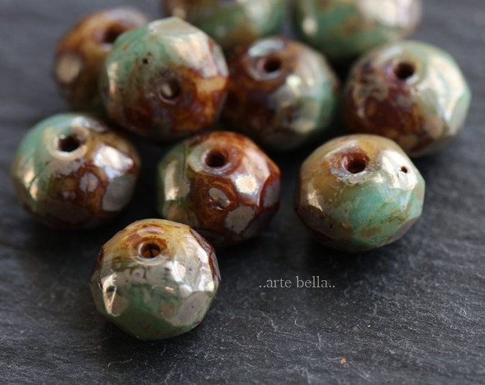 last ones .. METALLIC TORTOISE RONDELLES .. 8 Premium Picasso Czech Glass Beads 6x8mm (6488-8)
