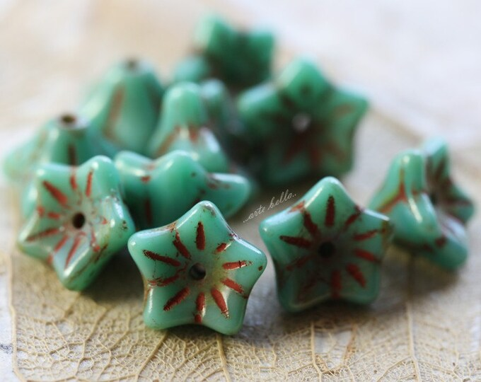 TURQUOISE POSIES .. 10 Premium Picasso Czech Glass Flower Beads (4817-10)
