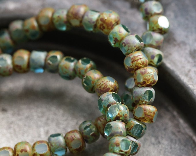 BEACHY AQUA SEEDS .. 50 Premium Picasso Czech Glass Tri-Cut Seed Bead Size 6/0 (5432-st)