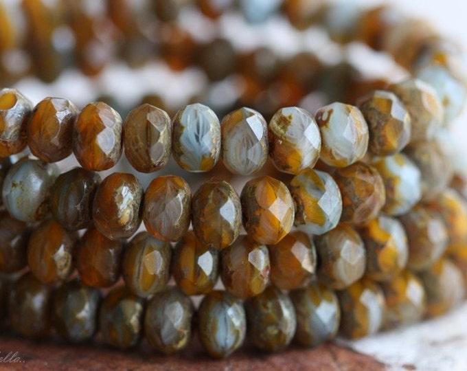 BUTTERNUT SKY .. 30 Premium Picasso Mix Czech Rondelle Beads 3x5mm (B24-st)