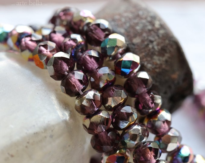 MYSTIC AMETHYST BABIES .. New 30 Premium Czech Glass Faceted Rondelle Beads 3x5mm (8079-st)