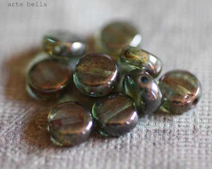 MOSS BUTTONS .. 20 Premium Picasso Czech Glass Coin Beads 6mm (1829-20)