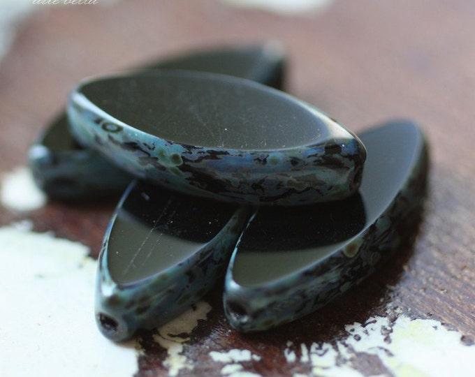 last ones .. BLACK PETALS .. 4 Premium Picasso Czech Glass Spindle Beads 17x8mm (691-4)