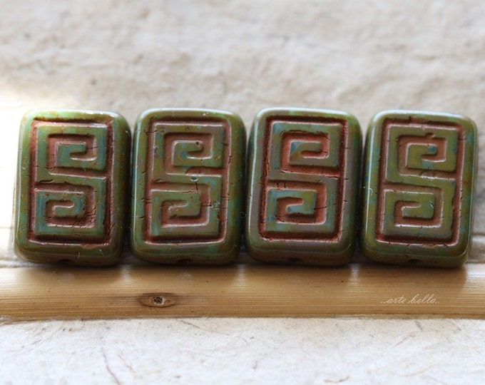 LICHEN KEYS .. 4 Premium Picasso Czech Glass Rectangle Beads 9x13mm (5128-4)