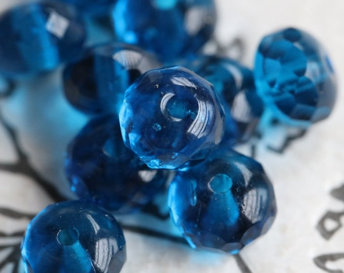SIMPLY AZURE PEBBLES .. 10 Premium Czech Glass Faceted Rondelle Beads 5x7mm (7758-10)