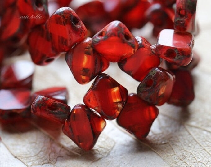 CORAL SQUARES .. 25 Premium Picasso Glass Silky Tile Square Beads 6mm (5068-st)