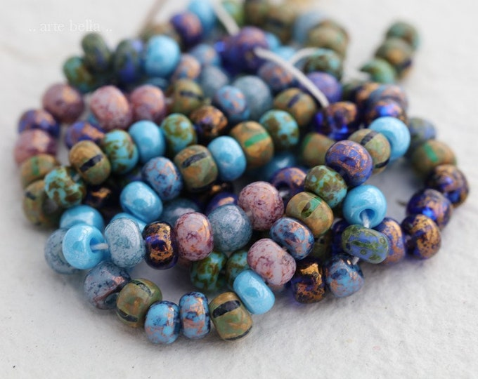 MAJESTIC SEED MIX No. 7868 .. New Premium Picasso Czech Glass Aged Striped Seed Beads Size 2/0-3/0 (7868-st)