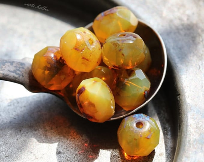CITRUS CUSTARD .. 10 Premium Picasso Czech Glass Beads 6x8-9mm (4690-10)