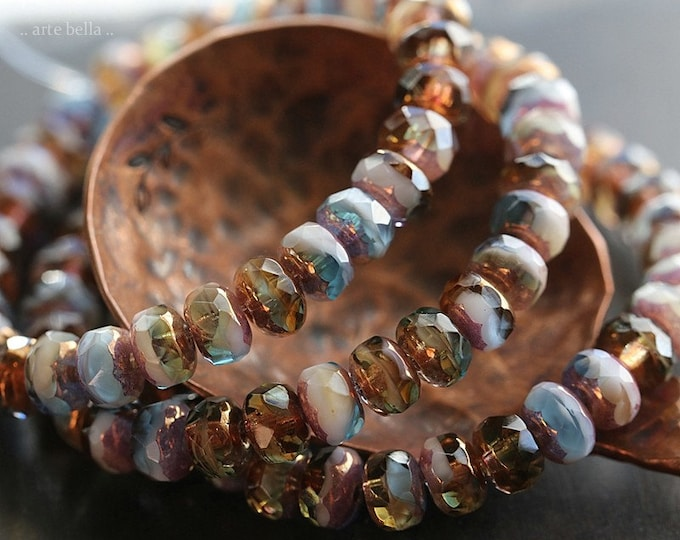 BRONZED STONE RIVER .. New 30 Premium Czech Glass Faceted Rondelle Beads 3x5mm (8627-st)
