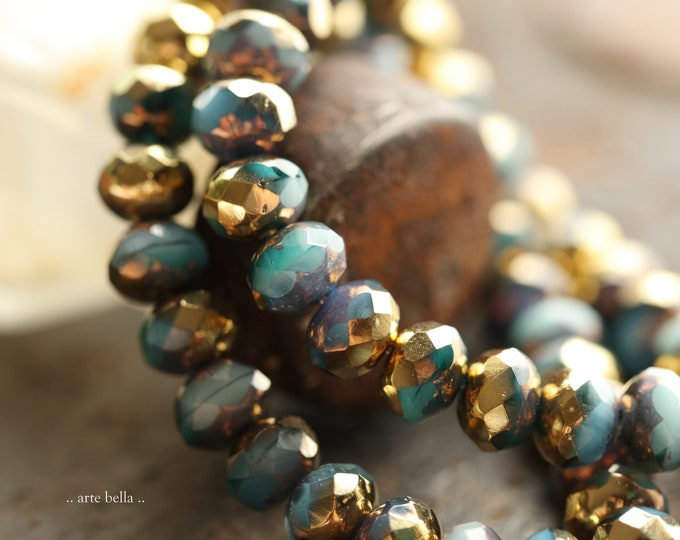 GILDED EMERALD SKY Pebbles.. New 25 Premium Czech Glass Faceted Rondelle Beads 7x5mm (9067-st)