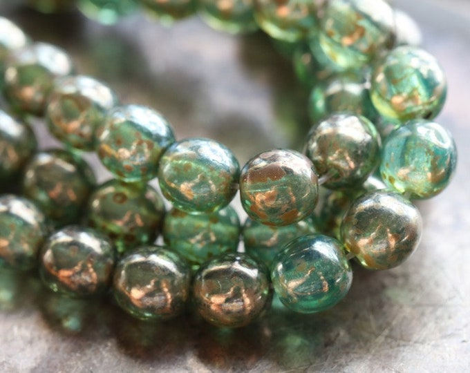 OCEANIC DRUKS 6mm .. 25 Premium Picasso Czech Glass Druk Beads (8050-st)