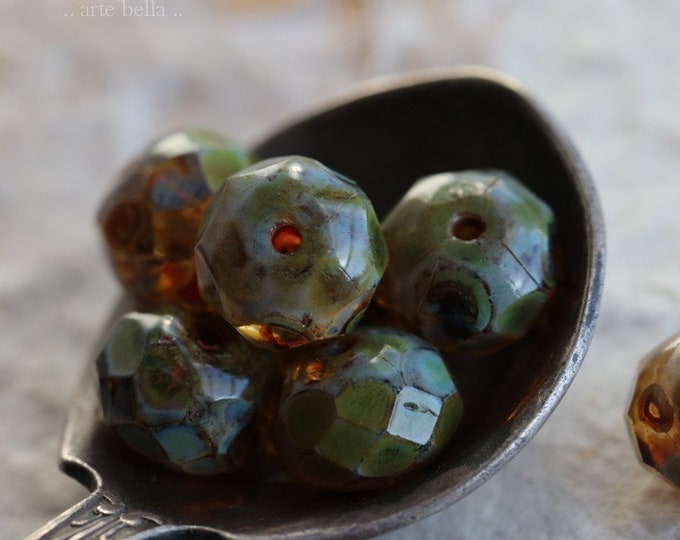 AMBER AND MOSS .. New 10 Premium Picasso Czech Rondelle Glass Beads 6x8mm (6845-10)