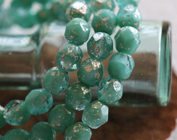 SILVERED SEA FOAM  .. 25 Premium Mercury Czech Glass Faceted Round Beads 6mm (8234-st)