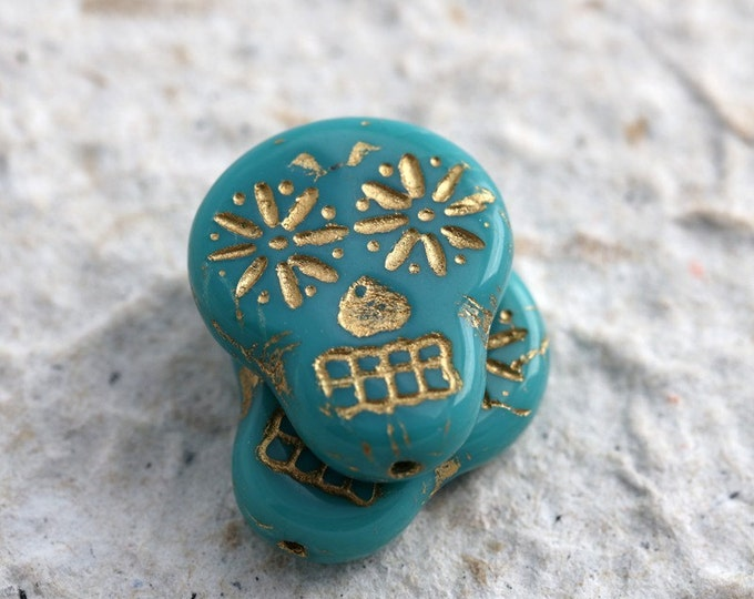 GILDED TEAL SKULLS .. 2 Picasso Czech Sugar Skull Beads 20x17mm (5470-2)