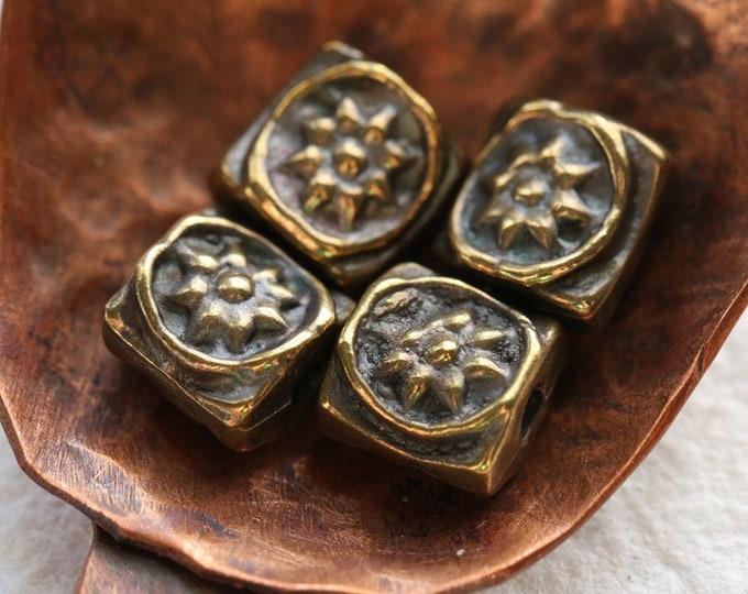ANTIQUE BRASS SUNS .. New 10 Mykonos Greek Sun Flower Beads 6.5mm (M244-10)