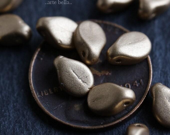 GOLDEN PIPS .. 20 Premium Czech Glass Pip Beads 5x7mm (6615-20)