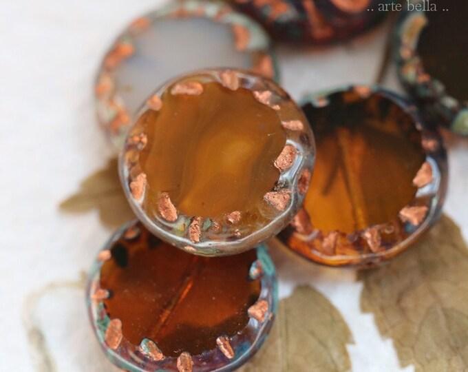 AUTUMN COIN MIX .. 6 Premium Copper Picasso Czech Glass Coin Bead Mix 15mm (8338-6)