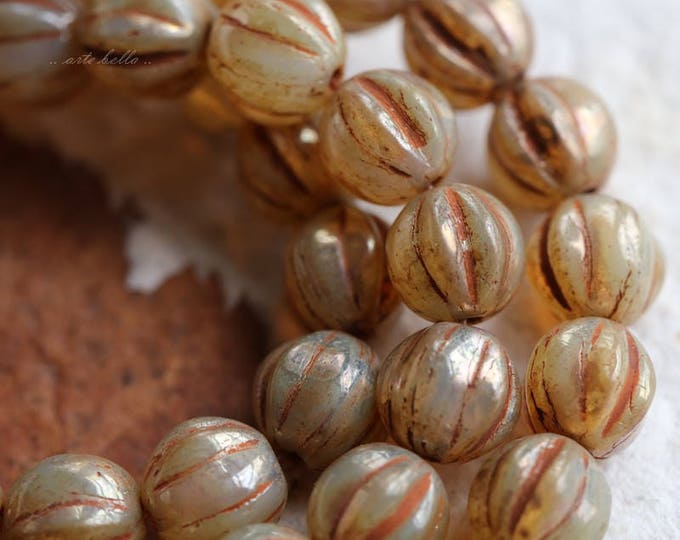 CASHMERE MELON .. 25 Premium Picasso Czech Glass Melon Beads 6mm (5782-st)