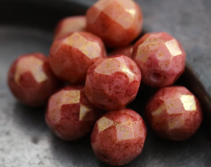 PINK CORAL POPS .. 10 Premium Picasso Glass Czech Bead 8mm (5575-10)