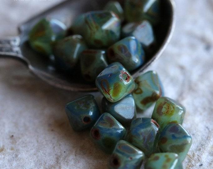 RAIN FOREST DIAMONDS .. 20 Premium Picasso Czech Diamond Glass Beads 6mm (6214-20)