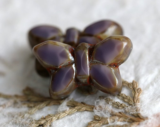 LAVENDER FLUTTERS .. 2 Premium Picasso Czech Glass Butterfly Beads 19x10mm (6991-2)