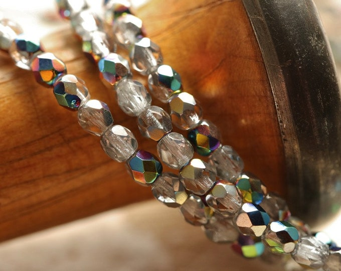 MYSTIC RAINBOW .. New 50 Premium Czech Glass Faceted Round Beads 4mm (8963-st)