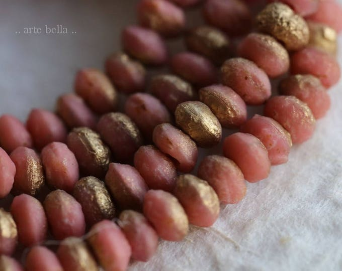 PEACHY PINK STONES .. 50 Premium Picasso Czech Glass Beads 3x4mm (6055-30)