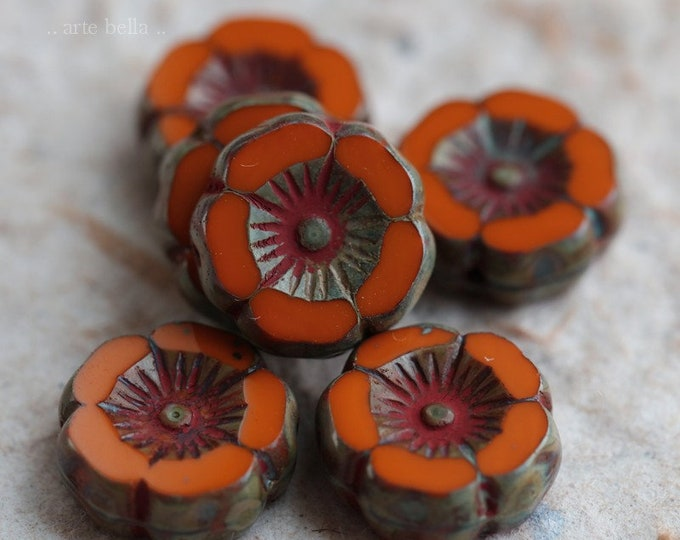 ORANGE PANSY .. 6 Premium Picasso Czech Glass Flower Beads 12mm (6313-6)