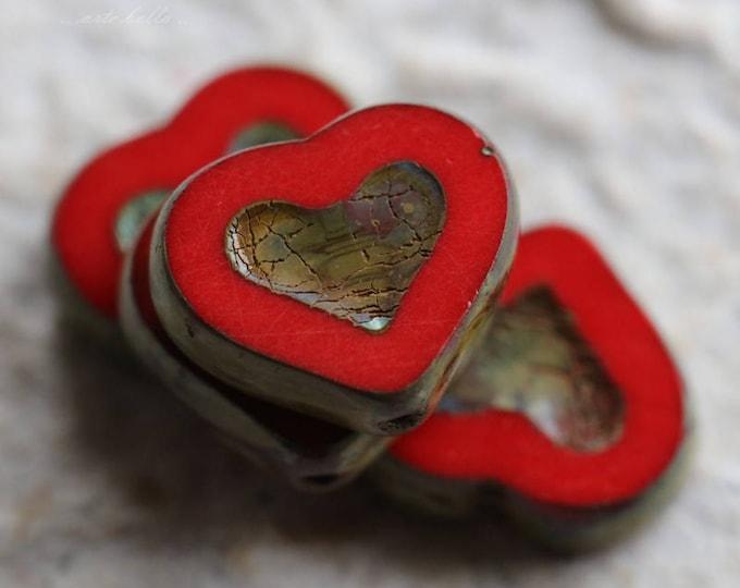 RED THUMPER .. 4 Premium Picasso Czech Glass Heart Beads 14x12mm (5828-4)