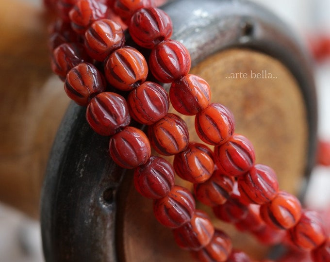LAVA MELONS No. 2 .. 50 Premium Picasso Czech Melon Beads 4mm (6278-st)