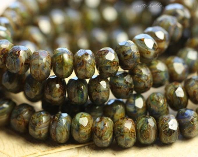 VIOLET MOSS No.2 .. 30 Premium Picasso Mix Czech Rondelle Beads 3x5mm (B39-st)