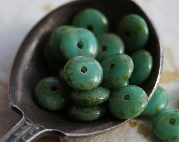 TURQUOISE DISC .. New 20 Premium Picasso Czech Glass Disc Beads 6x2mm (6908-20)