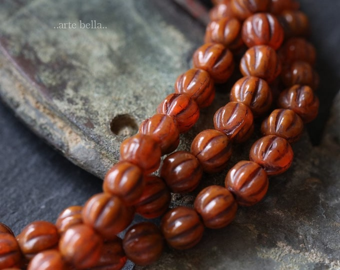 ROASTED MELONS 4mm .. 50 Premium Picasso Czech Glass Melon Beads (6285-st)