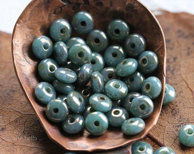 BRONZE PERSIAN BABIES .. 50 Premium Bronze Picasso Czech Glass Rondelle Beads 4mm (8247-50)