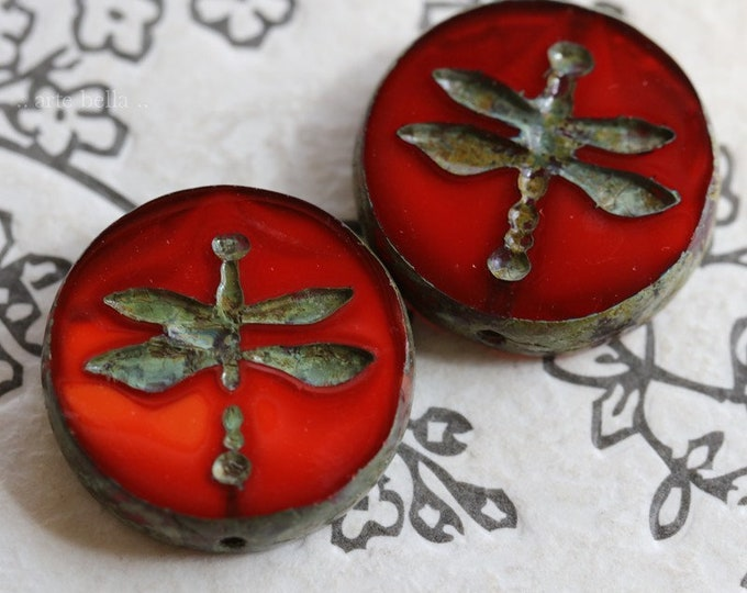 KOI DRAGONFLY COIN .. New 2 Premium Picasso Czech Glass Dragonfly Beads 18mm (7445-2)
