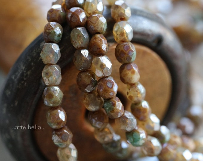 sale .. CASHMERE MIX 4mm .. 50 Picasso Czech Faceted Glass Beads 4mm (6289-st)