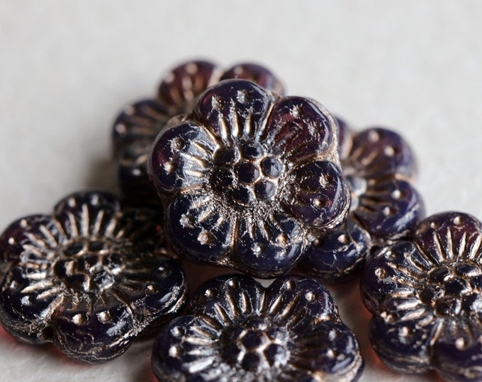 SILVERED GRAPE ROSES .. 6 Premium Platinum Czech Glass Wild Rose Beads 14mm (7218-6)