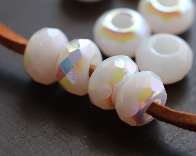 MYSTIC MOON GLOW Rollers .. 10 Premium Czech Glass Large Hole Roller Beads 6x9mm (8316-10)