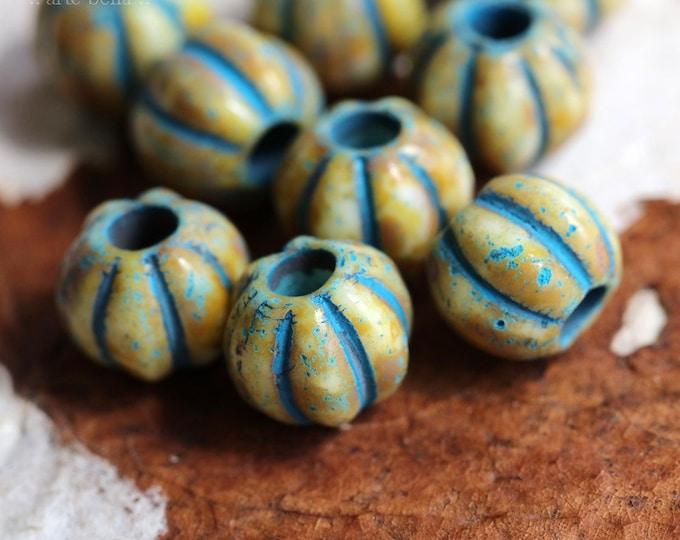 BLUE CREAM MELONS No. 6 .. 10 Premium Picasso Large Hole Czech Glass Melon Beads 8mm (7103-10)