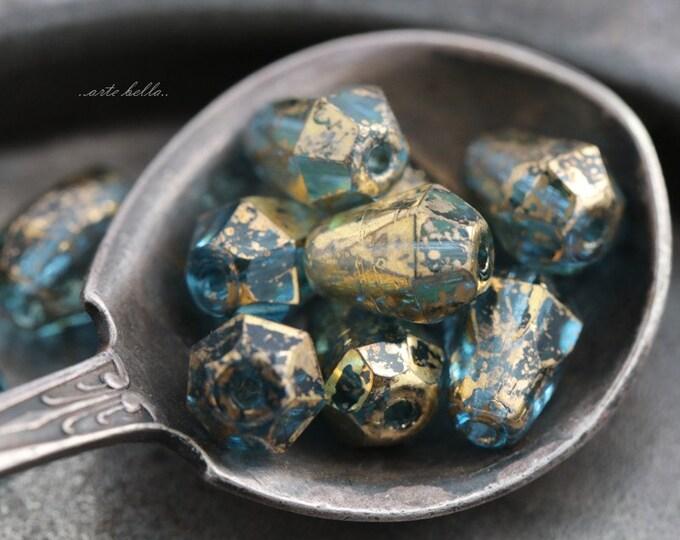 GILDED AQUA DROPETTES No. 2 .. 10 Picasso Czech Glass Drop Beads 8x6mm (5637-10)